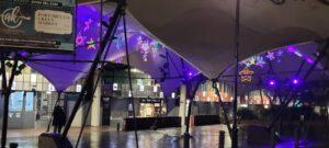 Colourful handmade stars underneath Portobello canopy